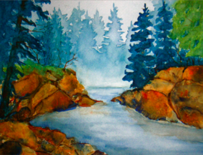 watercolor landscape with stream