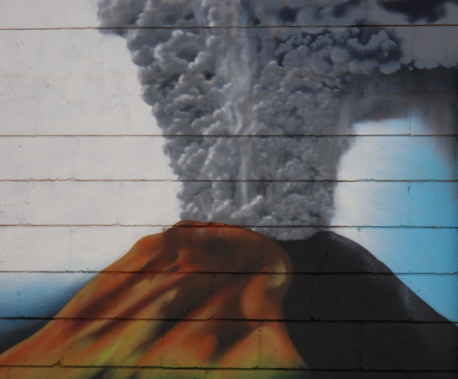 volcano painted graffiti in Minneapolis Minnesota
