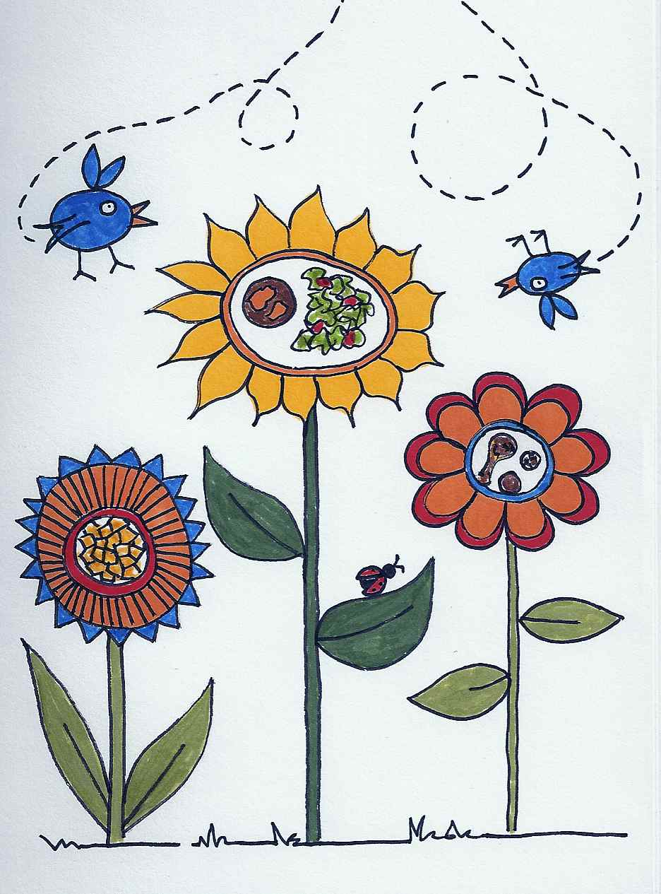 drawing of flowers with food centers