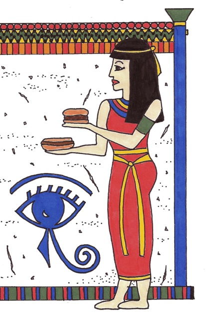 Egyptian wall painting of a woman holding a hot dog and hamburger