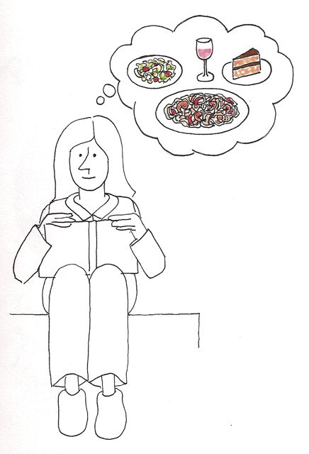 drawing of a woman thinking about food