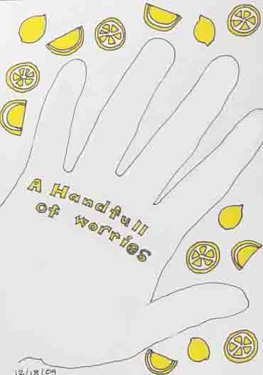 a line drawing of a hand surrounded by lemons