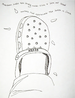 ink drawing of blood suckers attacking my shoe