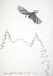 ink drawing of an eagle at the cabin