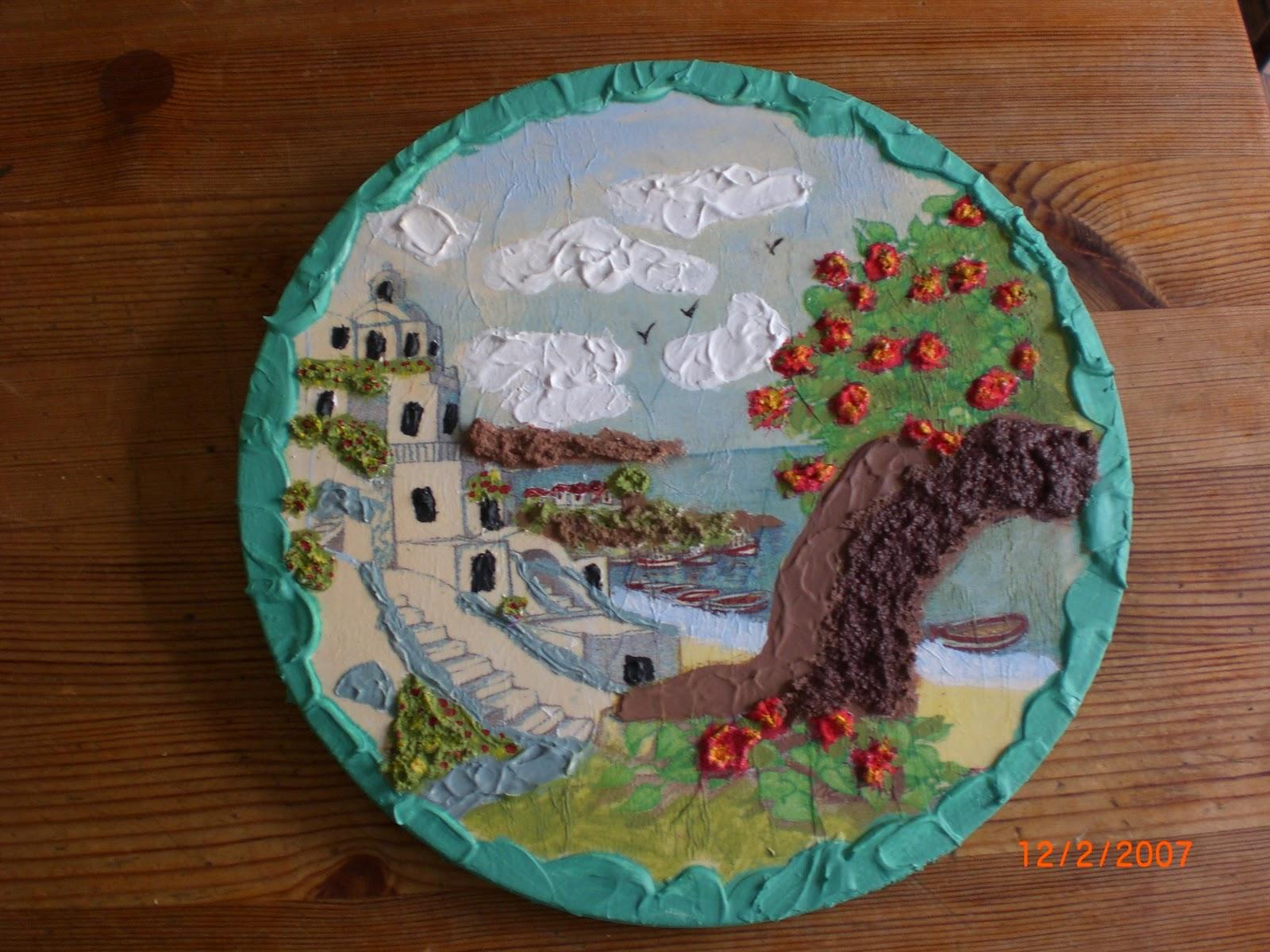 servilletas de paisajes en madera con vandal pasta de relieve y pintado el dibujo juego
