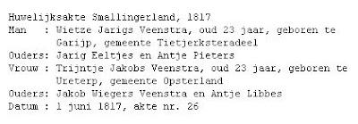 Tresoar, marriage of Wietze Jarigs Veenstra and Trijntje Jakobs Veenstra