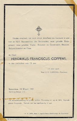Death announcement of Hendrikus Franciscus Coppens
