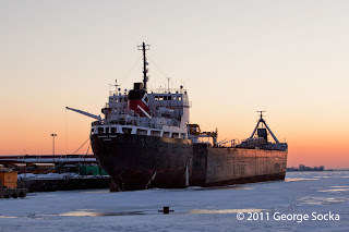 Upper Lakes Ship Frozen In The Ice in Winter inToronto Harbour