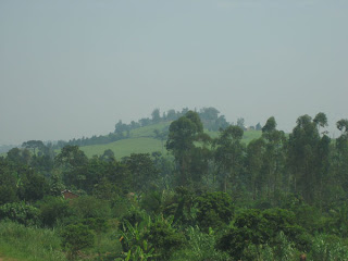 View of hills on the way to Jinja