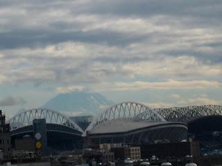 Mt. Rainier Partially Showing Seattle, WA