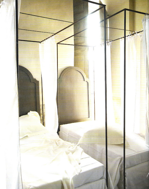 Twin canopy beds via Côté Sud Fev-Mar 2006, edited by lb for linenandlavender.net