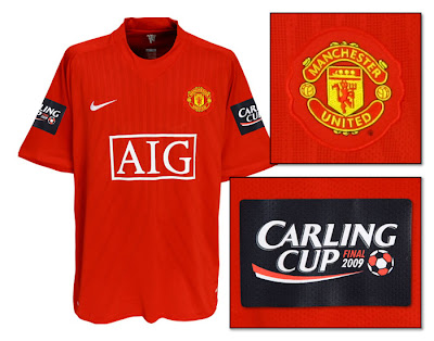 Manchester United Home Shirt 2007/09 with Carling Cup Final Badge