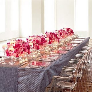 grey+%26+pink+table+runners+on+brides Pink and Grey Wedding Ideas