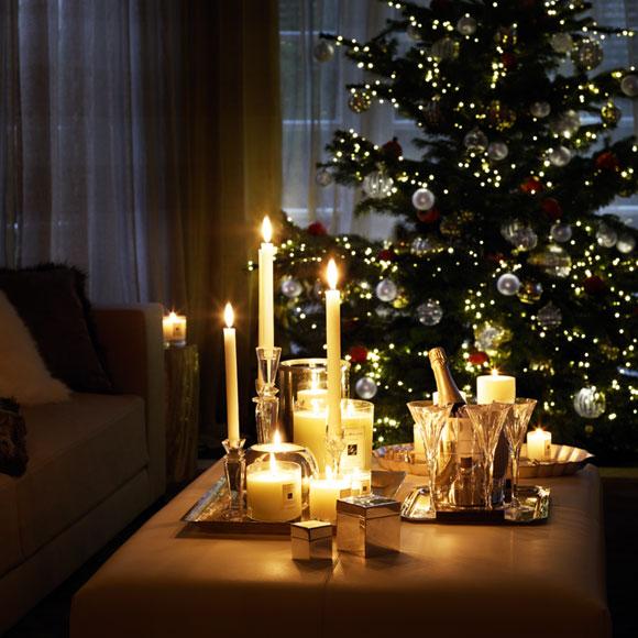 decoracao de natal para interiores de casas : decoracao de natal para interiores de casas:Velas na decoração de natal.