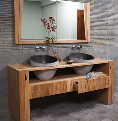 Interior Wood and Stone Bathroom