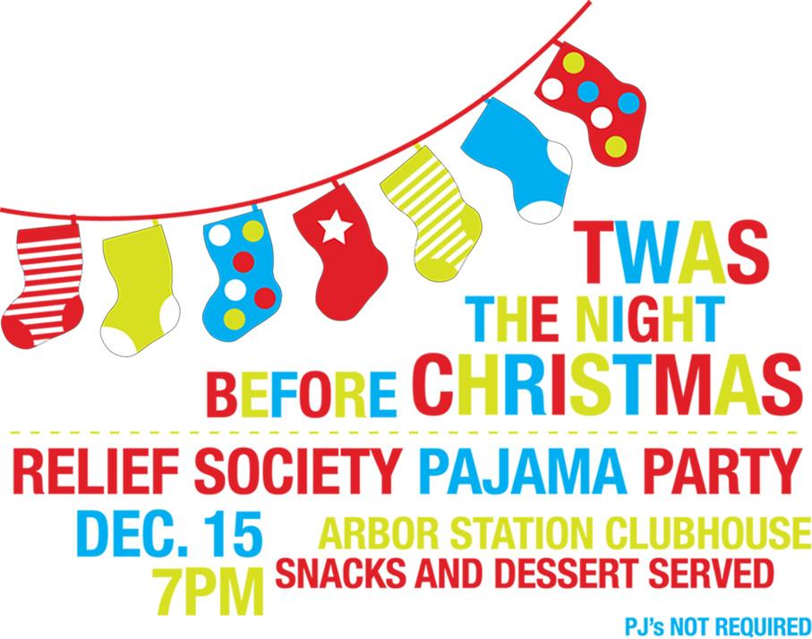 Aloha second relief society christmas pajama party