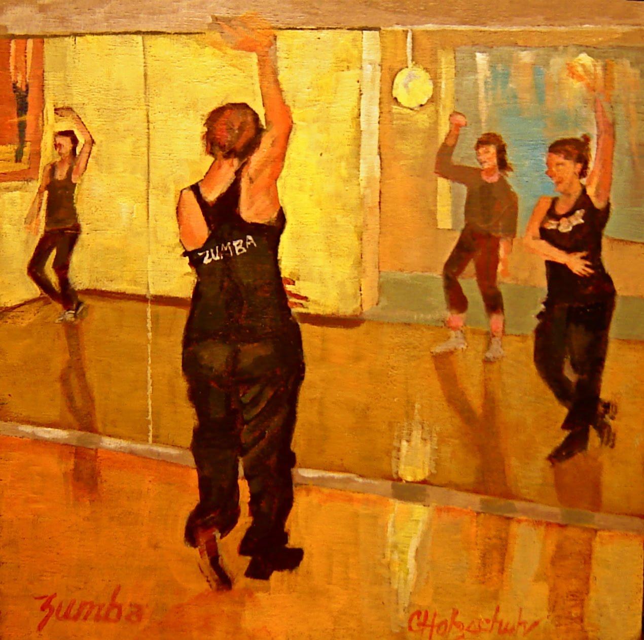 Christine holzschuh go figure zumba 8 x8 acrylic 164 for Mirror zumba