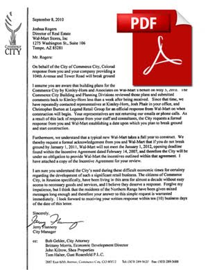 Commerce City Letter to Walmart regarding Northern Range Store CLICK PDF BELOW