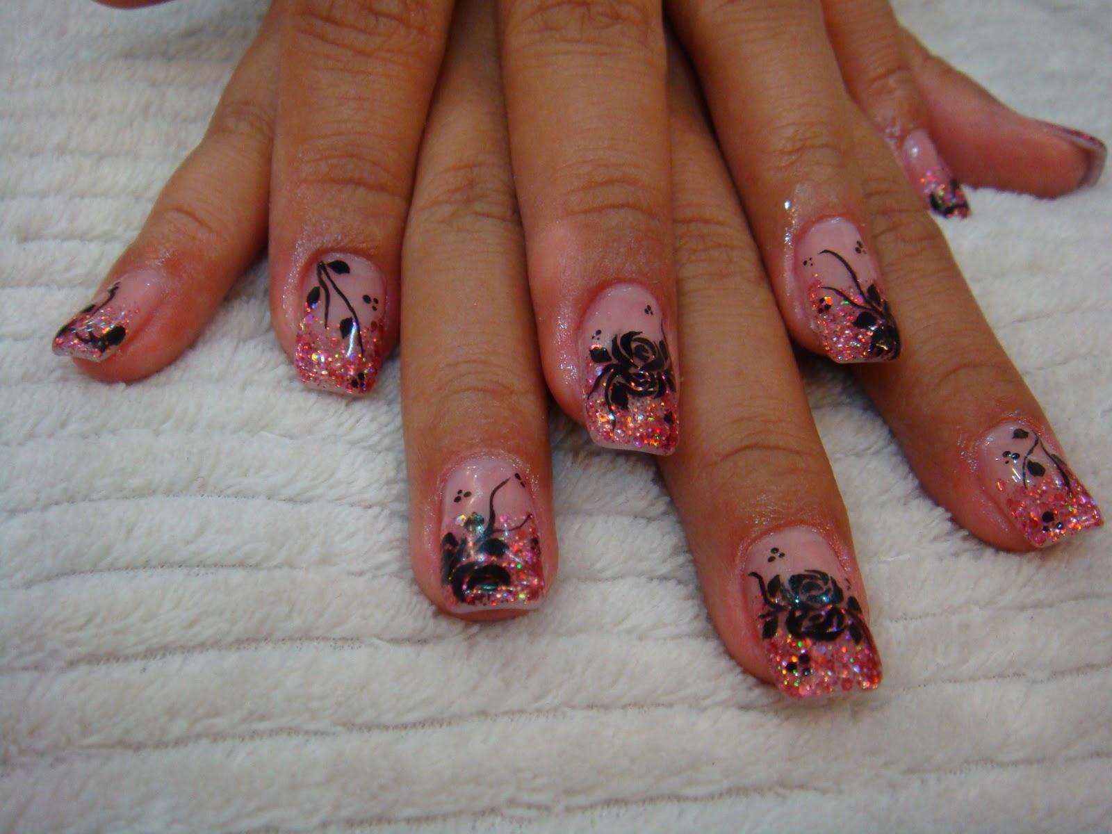 Le Sensual Nails Black Roses Nail Art On Pink Hard Gel Overlay