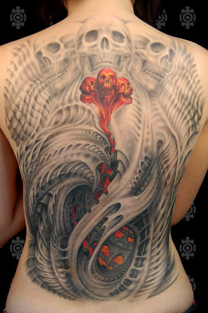 Beautiful Back Body Skull Tattoo for Girl