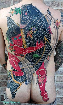 Koi Fish Tattoo Design With Natural Colors