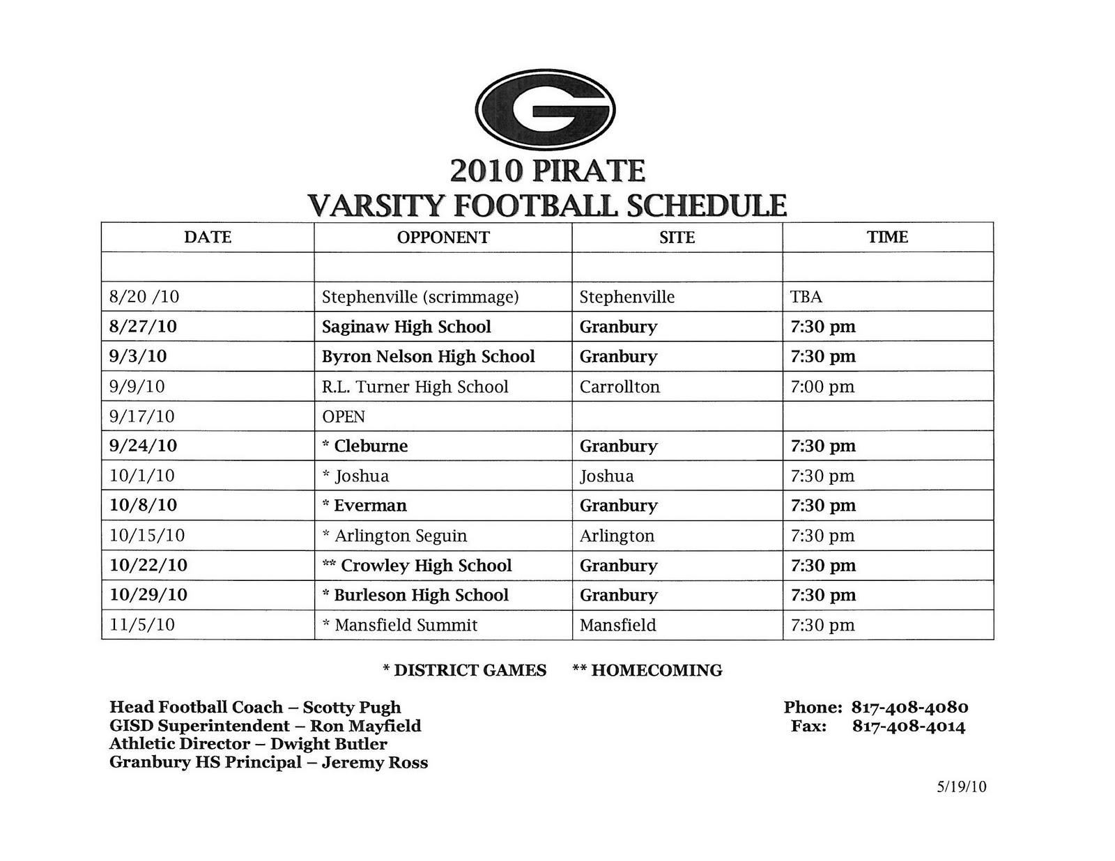 i love granbury!: granbury high school football schedule 2010