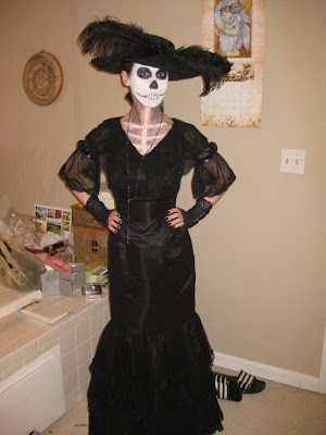 la calavera Catrina costume with an Edwardian-style dress