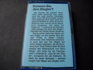 HARALD 'SACK' ZIEGLER-KENNEN SIE DEN ZIEGLER?, TAPE, 1993, GERMANY