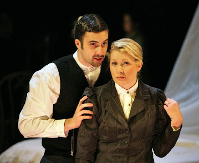 Paul Corujo (John) and Jennifer Holbrook (The Woman) in The Yellow Wallpaper, Peabody Chamber Opera, photo by Cory Weaver
