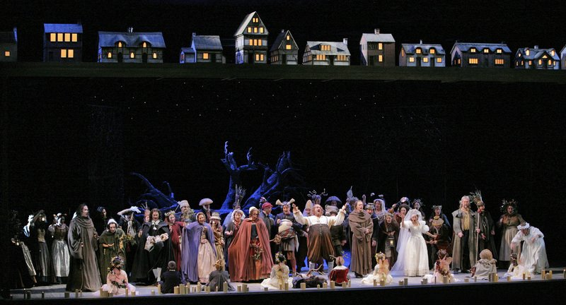 Full cast in Act III, scene 2 (Tutto nel mondo è burla) of Falstaff, Santa Fe Opera, 2008 (photo © Ken Howard)