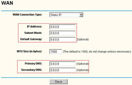 how to change ip to staic for a tp link