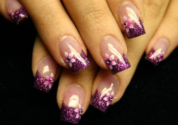 The Cool Flower nail design ideas Images