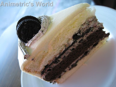 A slice of Red Ribbon Cookies and Cream Cake