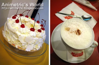 White Forest Cake and Cappuccino Hot Brew at Red Ribbon