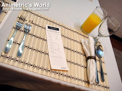 Place setting at the AICA Degustation