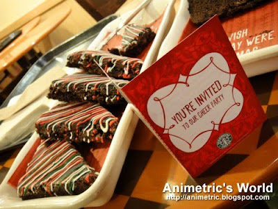 Starbucks Cheer Party invitation and Peppermint Brownies at Starbucks