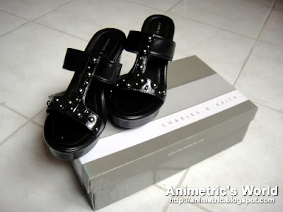 Charles & Keith open toe slip-on wedges in Black