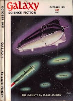 Cover image of Galaxy Science Fiction magazine, October 1951 issue, illustrating the story The C-Chute by Isaac Asimov
