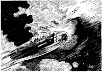 An illustration accompanying the short story One-way Trip by Anthony Boucher in its original appearance in Astounding Science Fiction, August 1943