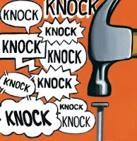 Illustration by Steve Powers, accompanying the appearance in The New Yorker of short story The Knocking by David Means