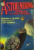 Cover image of magazine called Astounding Stories of Super-Science, March 1930 issue. Image was painted in water colors by H W Wessolowski from a scene in the included story titled Brigands of the Moon by Ray Cummings. Click image for full sized original scan image.