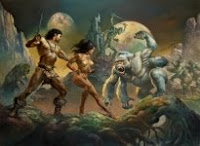 Painting titled John Carter of Mars by Boris Vallejo and Julie Bell. Click image for full size original.