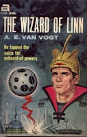 Cover image of the novel titled The Wizard of Linn by A E van Vogt. Image shows Lord Clane & his sphere-weapon destroying alien targets.