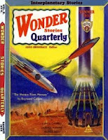 Cover image of Wonder Stories Quarterly magazine, Volume 3 Number 4 Summer 1932 issue. It depicts a scene from the short story The Menace from Mercury by Raymond Gallun and John Michel.