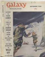 Cover by DEMBER showing Preparing Antarctica for Solar Conference of Galaxy Magazine, September 1958 issue