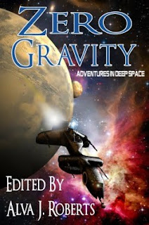 Cover image of the original short fiction anthology Zero Gravity -- Adventures in Deep Space, edited by Alva J Roberts