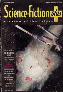 Cover by Frank R Paul of Science Fiction Plus magazine, October 1953 issue.