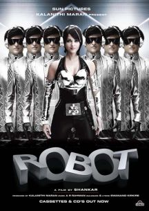 Display showing Aishwarya Rai and Rajnikanth in 2010 movie with multiple titles - Robot in Hindi and English, Enthiran in Tamil, Robo in Telugu
