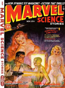 Cover by Norman Saunders of Marvel Science Stories magazine, November 1950 issue. Illustrates the story Temptress of the Time Flow by Gardner F Fox.