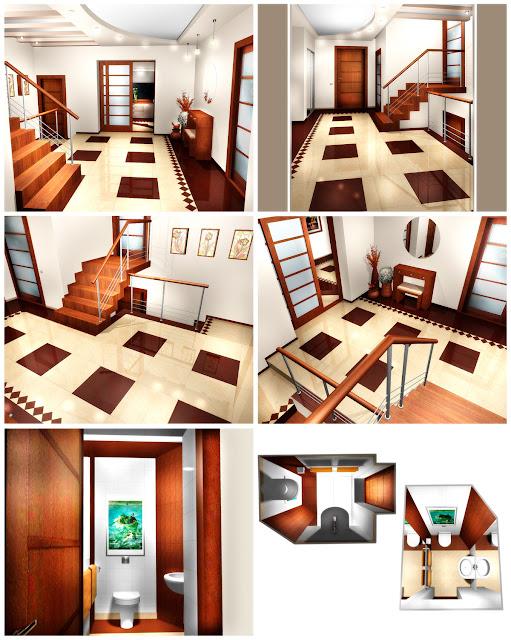 Дизайн интерьера коттеджа в п.Таватуй. Холл и гостевой туалет. 1 этаж